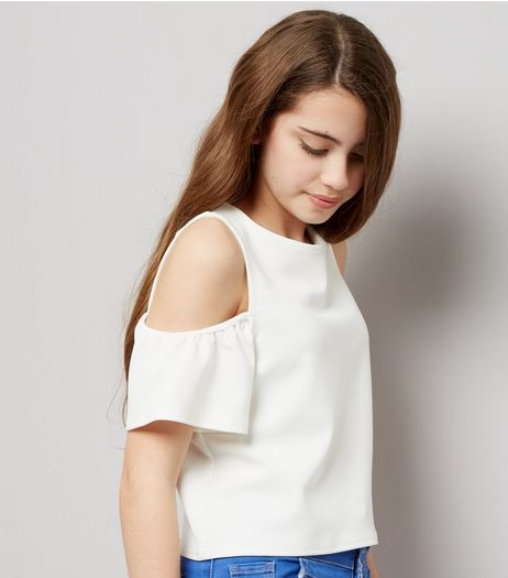 Teens White Cold Shoulder Flutter Sleeve Top | New Look
