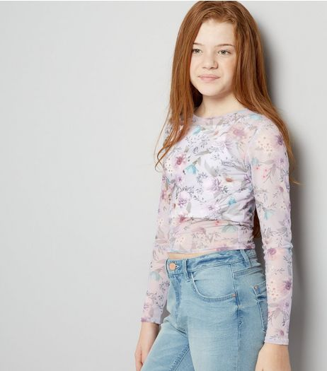 Teens Lilac Mesh Floral Print Top | New Look