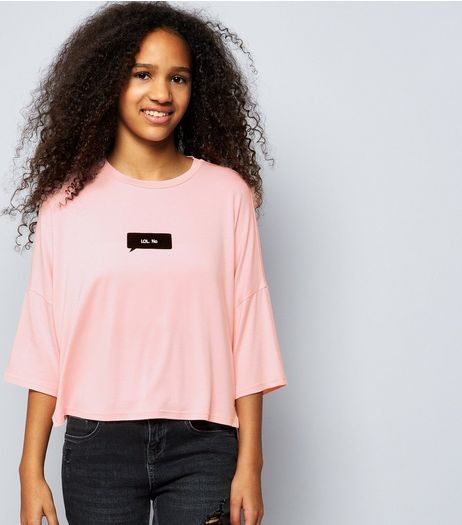 Teens Pink Lol No Print Top  | New Look