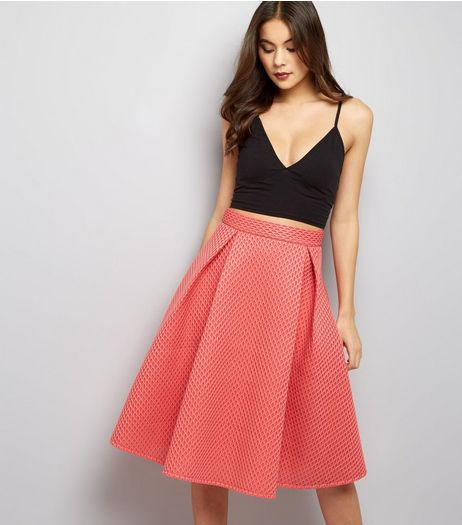 Blue Vanilla Coral Mesh A-Line Midi Skirt | New Look
