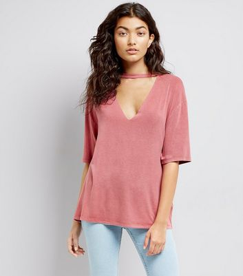 Red Cut Out Choker Neck T-Shirt