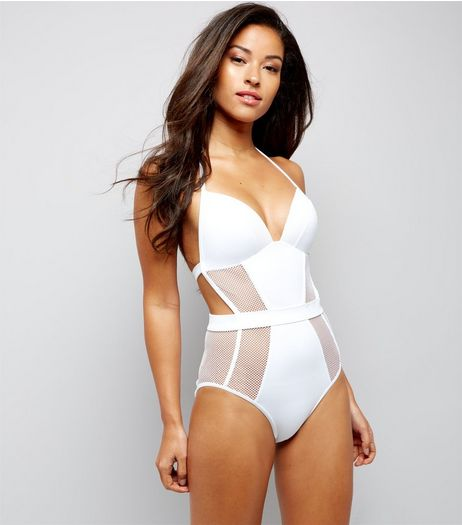 White Mesh Panel Swimsuit  | New Look
