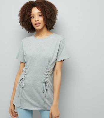 Grey Lace Up Corset Longline T-Shirt