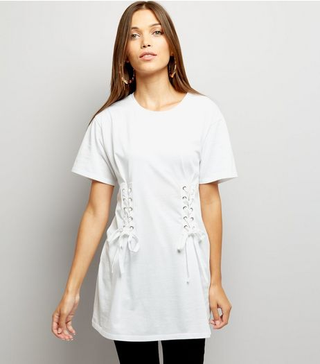 White Lace Up Corset Longline T-Shirt | New Look