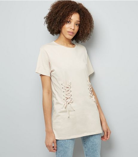 Shell Pink Lace Up Corset Longline T-Shirt | New Look