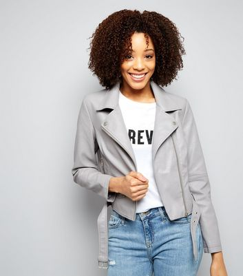 Grey Belted Leather-Look Jacket