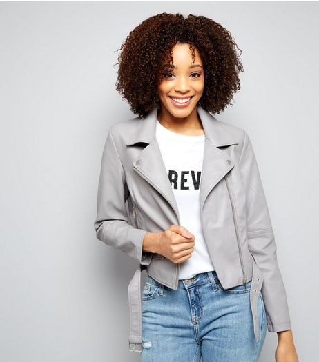 Grey Belted Leather-Look Jacket  | New Look