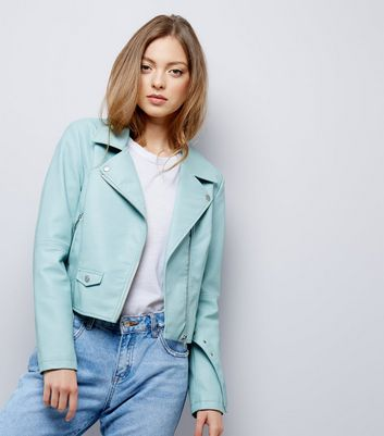 Mint Green Belted Leather-Look Jacket