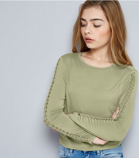 Teens Khaki Plaited Sleeve Top | New Look