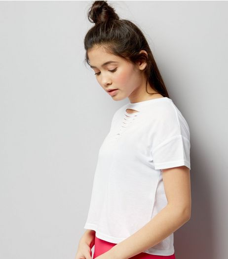 Teens White Ladder Front T-Shirt | New Look