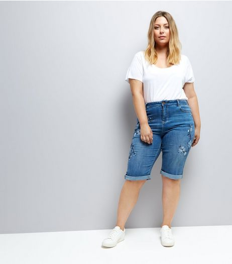Curves Blue Denim Floral Embroidered Boyfriend Shorts | New Look
