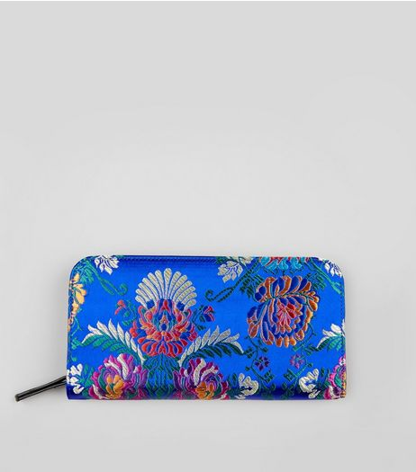 Blue Satin Floral Brocade Purse | New Look