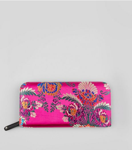 Pink Satin Floral Brocade Purse | New Look