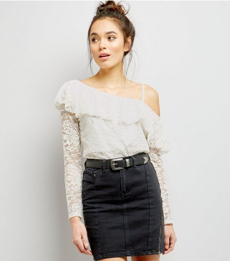White Lace Off the Shoulder Frill Trim Top  | New Look