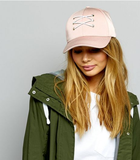 Pink Sateen Lace Up Front Cap | New Look