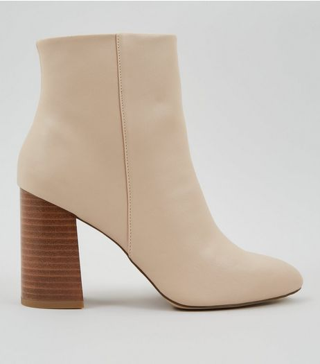 Nude Contrast Stacked Block Heel Boots | New Look