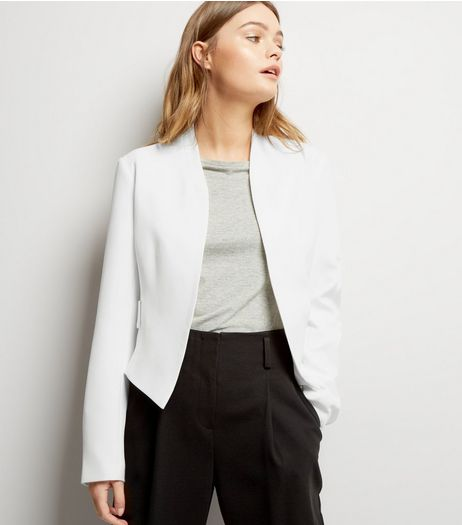 White Eyelet Detail Blazer | New Look