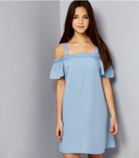 Teens Blue Frill Sleeve Bardot Neck Dress | New Look