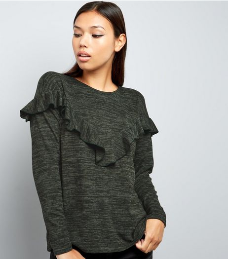 Khaki Frill Trim Brushed Long Sleeve Top  | New Look