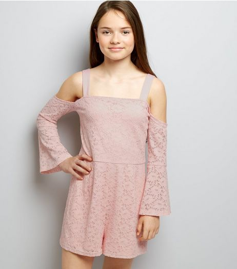Teens Shell Pink Lace Bell Sleeve Playsuit | New Look