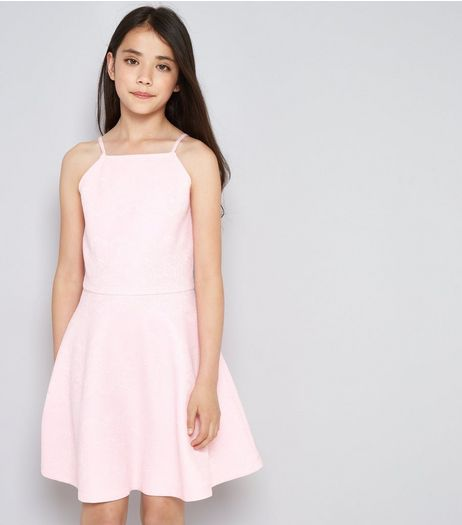 Teens Pink Lace Embossed Skater Dress | New Look