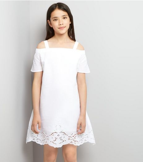 Teens White Broderie Hem Bardot Neck Dress | New Look