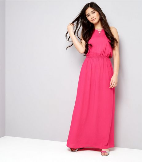 Teens Bright Pink Lattice Front Maxi Dress | New Look