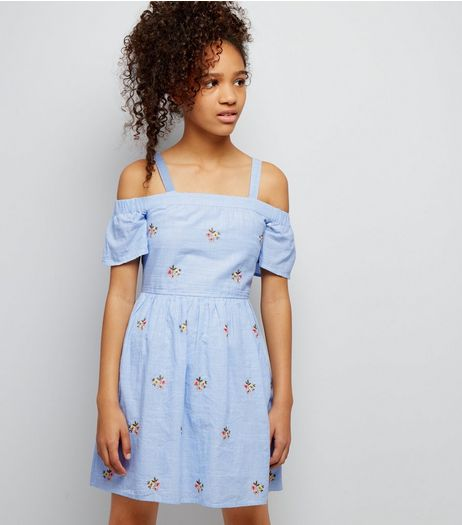 Teens Blue Floral Embroidered Cold Shoulder Dress | New Look