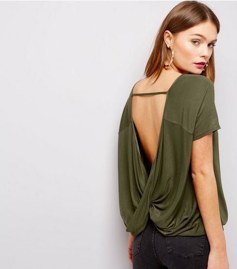 Khaki Short Sleeve Wrap Bar Back Top  | New Look