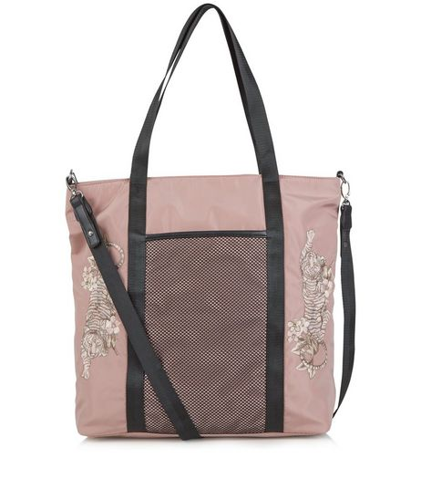 Pink Tiger Embroidered Tote Bag | New Look