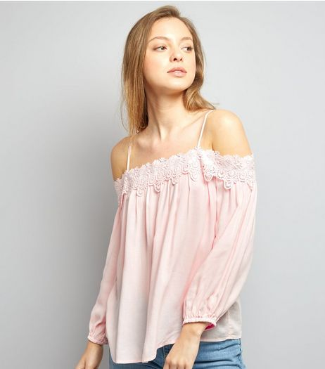 Shell Pink Crochet Lace Trim Bardot Neck Top | New Look