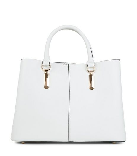 White Gold Trim Tote Bag | New Look