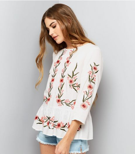 White Floral Embroidered 3/4 Sleeve Top  | New Look