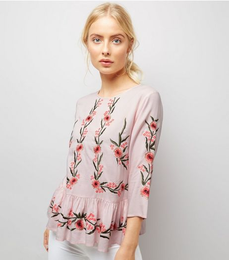 Shell Pink Floral Embroidered Peplum Hem Top | New Look