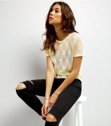 Yellow Floral Lace Sheer Top  | New Look