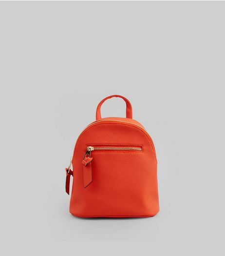 Orange Curved Top Mini Backpack | New Look