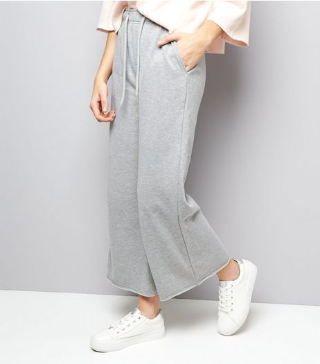 Grey Wide Leg Joggers  | New Look