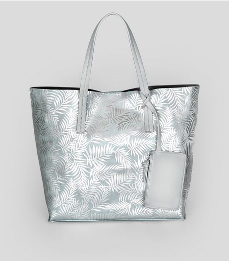 Silver Metallic Palm Print Shopper Bag | New Look