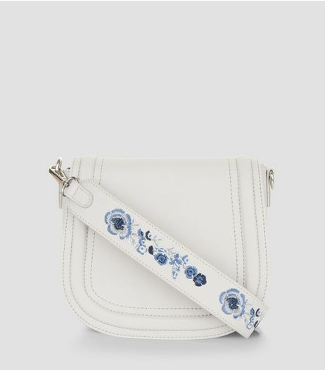 Grey Floral Embroidery Saddle Bag | New Look
