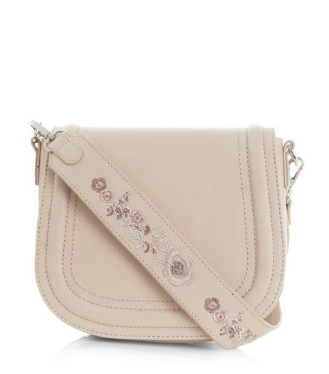 Cream Floral Embroidery Saddle Bag | New Look