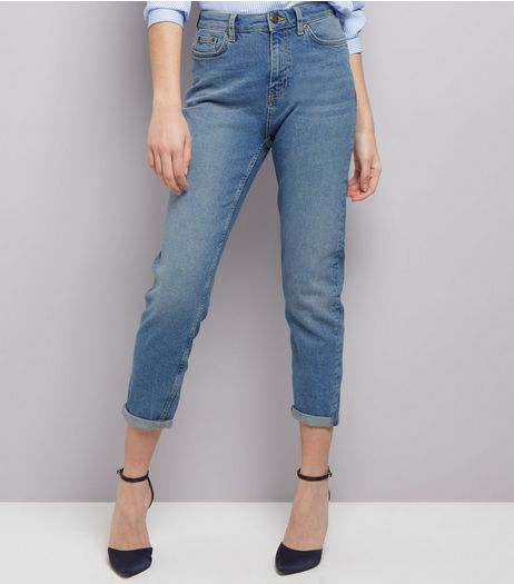Blue Turn Up Hem Tori Mom Jeans  | New Look