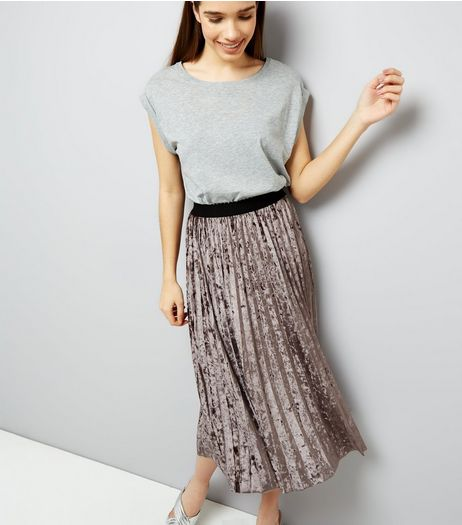 Silver Velvet Pleated Midi Skirt  | New Look