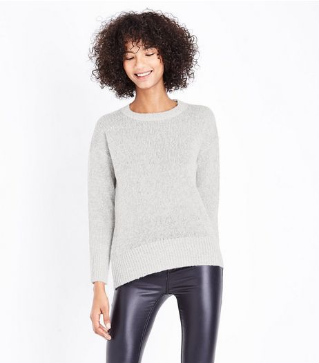 Pale Grey Longline Jumper | New Look