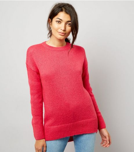 Bright Pink Longline Jumper | New Look