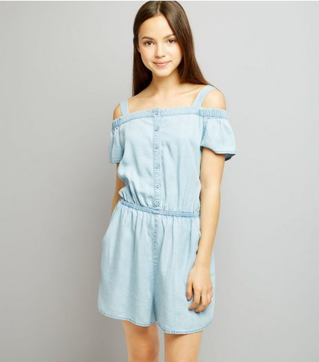 Teens Light Blue Button Front Playsuit | New Look