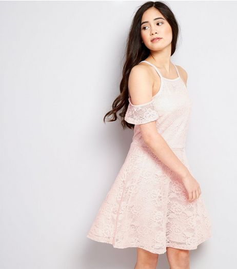 Teens Pink Lace Cold Shoulder Skater Dress | New Look