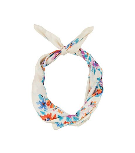 Shell Pink Sateen Floral Print Bandana | New Look