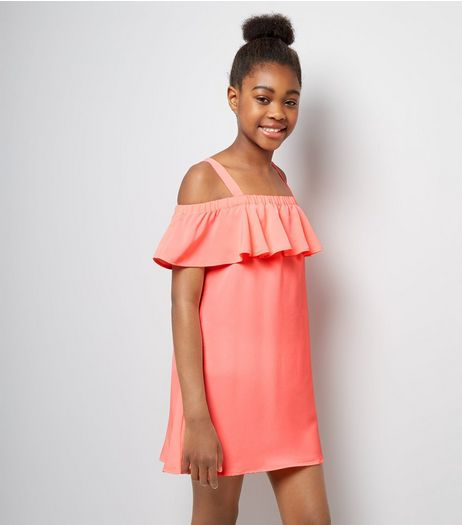 Teens Coral Frill Trim Bardot Neck Dress | New Look