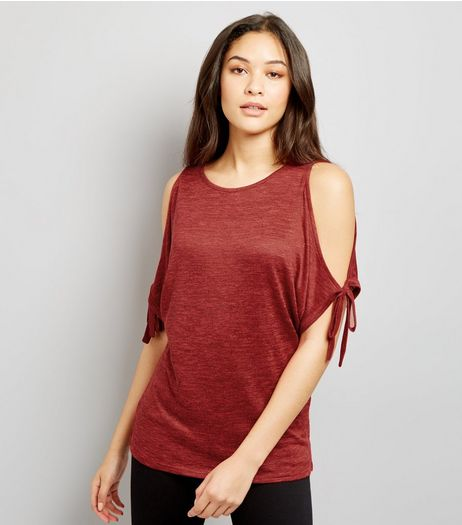 Red Cold Shoulder Tie Sleeve Top | New Look