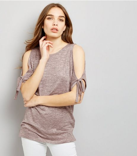 Shell Pink Tie Sleeve Cold Shoulder Longline Top  | New Look